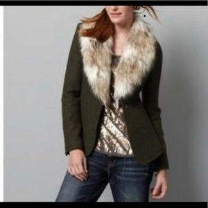 Ann Taylor Loft Olive Green Faux Fur Wool Blend